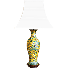 Guangxu Period Yellow Ground Porcelain Vase Lamp with Dragons