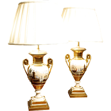 Pair of Fine Paris Porcelain Vase Lamps with Harbor Scenes