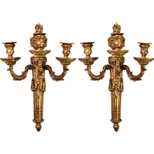 Pair of Large French Gilt Bronze Louis XVI Style Sconces