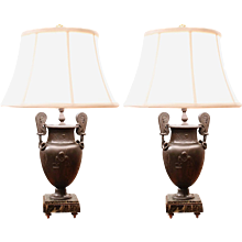 Pair of Bronze Patinated Spelter Classical Urn Lamps