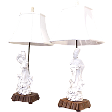 Pair of Chinese Blanc de Chine Guanyin Figure Lamps