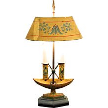 Yellow Painted Neoclassical Tôle Lamp