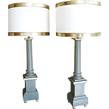Pair of Green Painted and Gilded Column Form Lamps