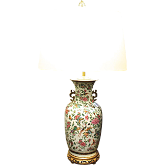 Large Chinese Export Rose Canton Handled Vase Lamp