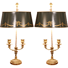 Pair of Small Louis XVI Style Bouillotte Lamps