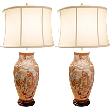 Pair of Unusual Japanese Kutani Porcelain Vase Lamps