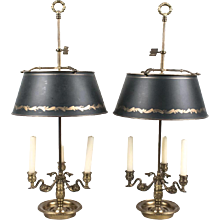 Pair of Bouillotte Lamps with Green Tôle Shades