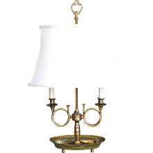 Restauration Style Oval Lacquered  Brass Bouillotte Lamp with Hunting Horns