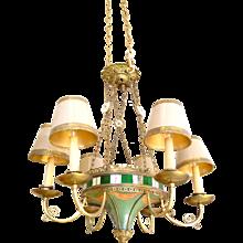 A Six Light Tôle and Glass Chandelier