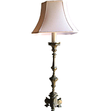 Continental Large Bronze Pricket Lamp