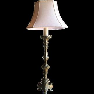 Continental Large Bronze Pricket Lamp