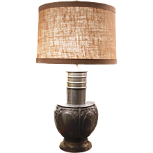 Chinese Pewter Vessel Adapted into a Lamp