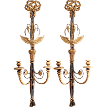 Pair of Italian Black Painted and Parcel Gilt Two Light Sconces