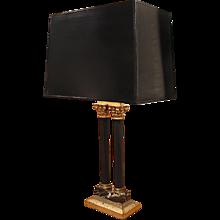 Italian Double Column Lamp with Tôle Shade