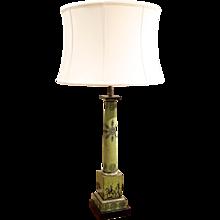 Italian Green Painted Tôle Transferware Lamp