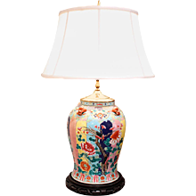 Large Polychrome Chinese Vase Adapted into a Lamp