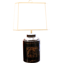 English Tôle Tea Cannister Lamp with Chinoiserie Decoration