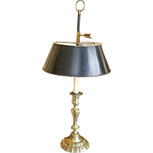 French Louis XV Candlestick Lamp with Tôle Shade