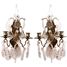 Pair of French Cut Crystal Candle Sconces, ca. 1900