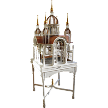 Large Painted and Gilded Bird Cage on Stand