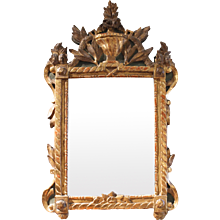 Early Louis XV Period Painted and Carved Giltwood Mirror