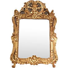 Provençal Louis XV Gilt Wood and Painted Mirror