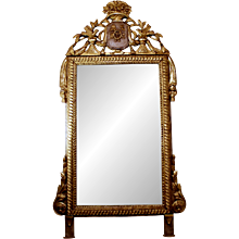 Italian Neoclassical Crested Mirror with Guilloche Carved Frame, 19th Century