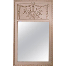 Grey Painted Louis XVI Style Trumeau Mirror