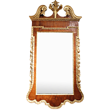 George II Period Walnut and Parcel Gilt Mirror with Pedimented Top