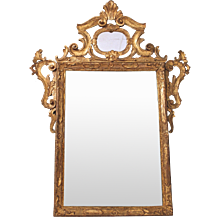 Italian Rococo Style Gilt Wood Carved Mirror