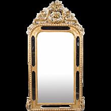 French Napoleon III Gilt Crested Bordergalss Mirror