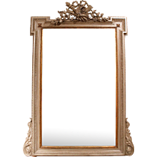 French Louis XVI Style Grey Painted and Gilded Mirror