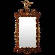 George II Style Walnut and Parcel Gilt Mirror with HoHo Bird Crest