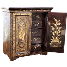 Chinese Black and Gilt Lacquer Miniature Cabinet