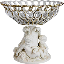 Minton Parian Ware Compote with Pierced Basket
