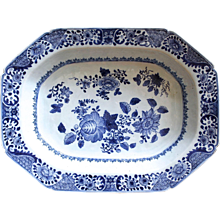 Chinese Export Blue And White Octagonal Dish, 19th Century
