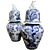 Pair of Japanese Blue and White Ginger Jars with Foo Dog Finials