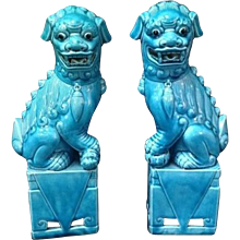 Pair of Chinese Aqua Glazed Porcelain Foo Dogs