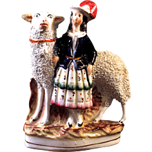 Staffordshire Scottish Girl with a Large Sheep, 19th Century