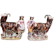 Pair of Unusual Staffordshire Goat Spill Vases