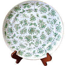 Green Sacred Bird and Butterfly Chinese Export Famille Verte Plate