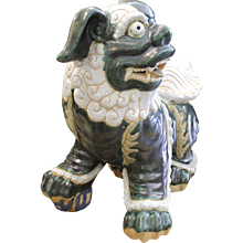 Pair Of Large Glazed Terra-Cotta Chinese Foo Dogs In Green And Cream