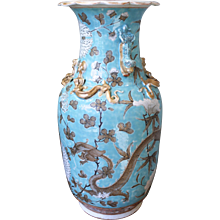 Aqua Glazed and Gilt Chinese Export Guangxu Vase With Dragons