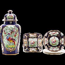 "Garniture of English ""Chelsea Bird' Pattern Porcelain"