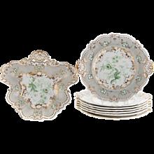 Set of Nine Interestingly Shaped English Grey and Gilt Decorated Dishes