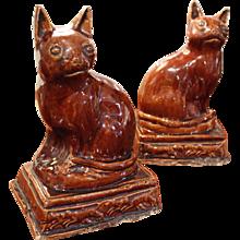 Pair of American Rockingham Glaze Cats
