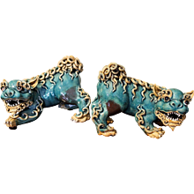 Pair of Aqua Glazed Chinese Terracotta Foo Dogs with Curly Fur