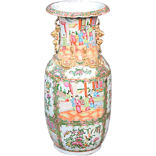 Large Rose Medallion Vase, 19th Century