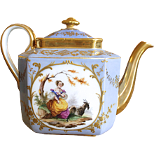 Dresden Teapot with Figural Vignettes and Gilt Decoration