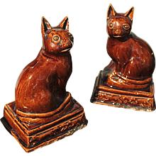 Pair of American Rockingham Glaze Cats, 19th Century